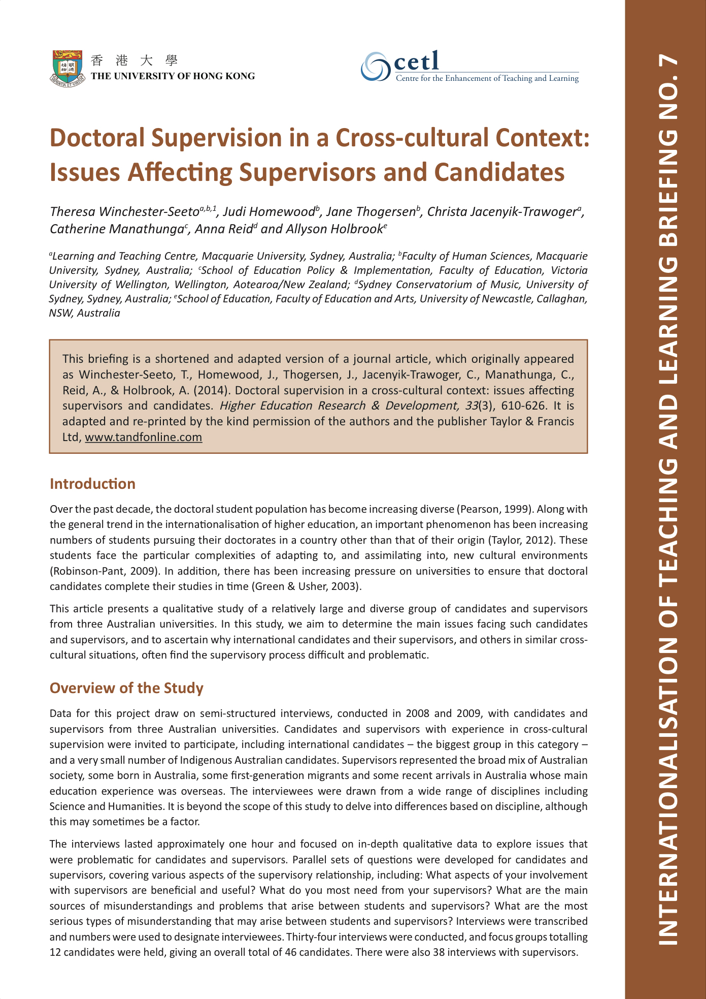 7. Doctoral Supervision in a Cross-cultural Context: Issues Affecting Supervisors and Candidates