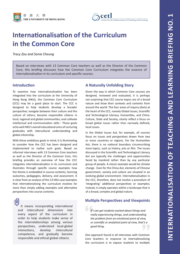 1. Internationalisation of the Curriculum in the Common Core