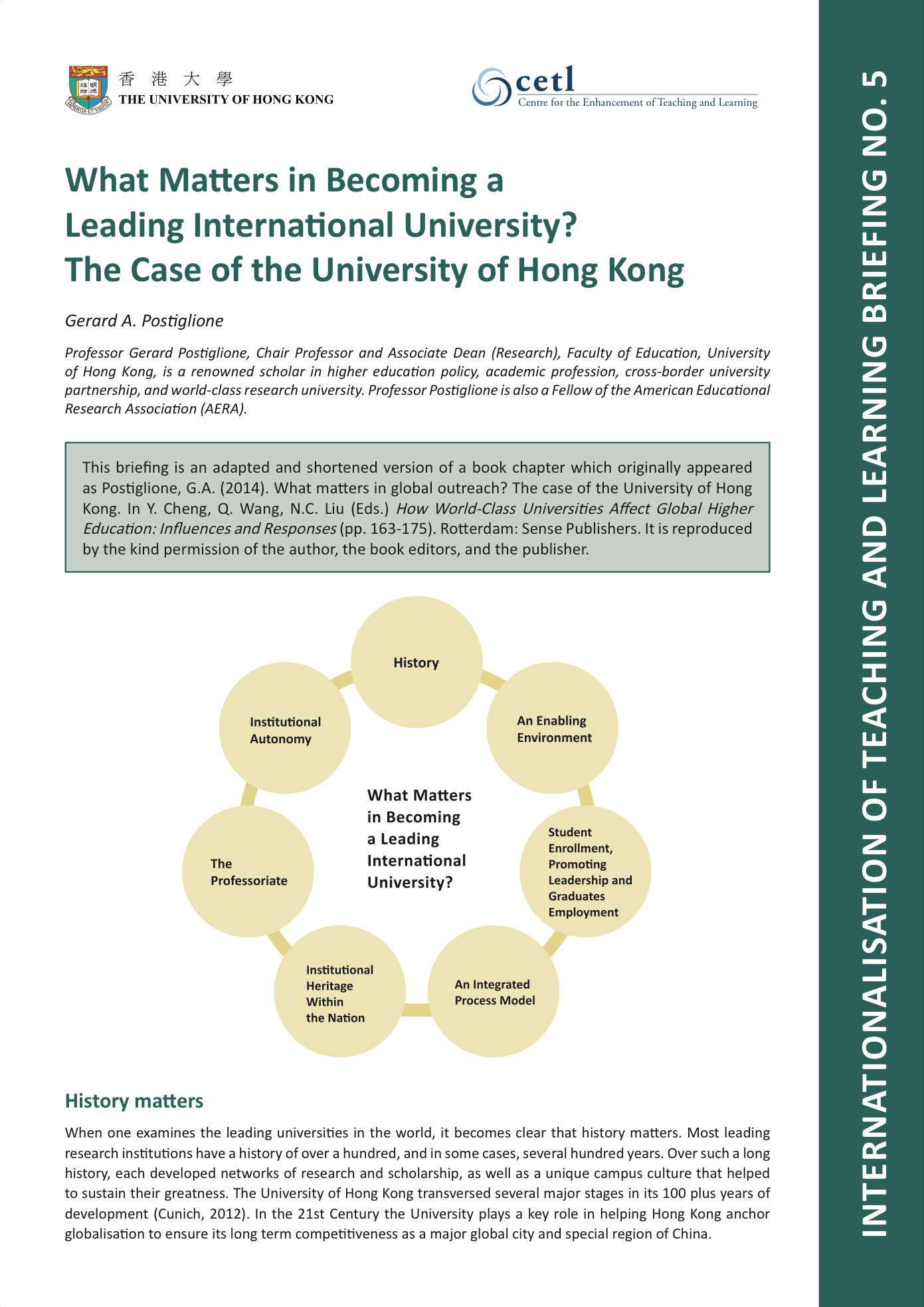5. What Matters in Becoming a Leading International University? The Case of the University of Hong Kong