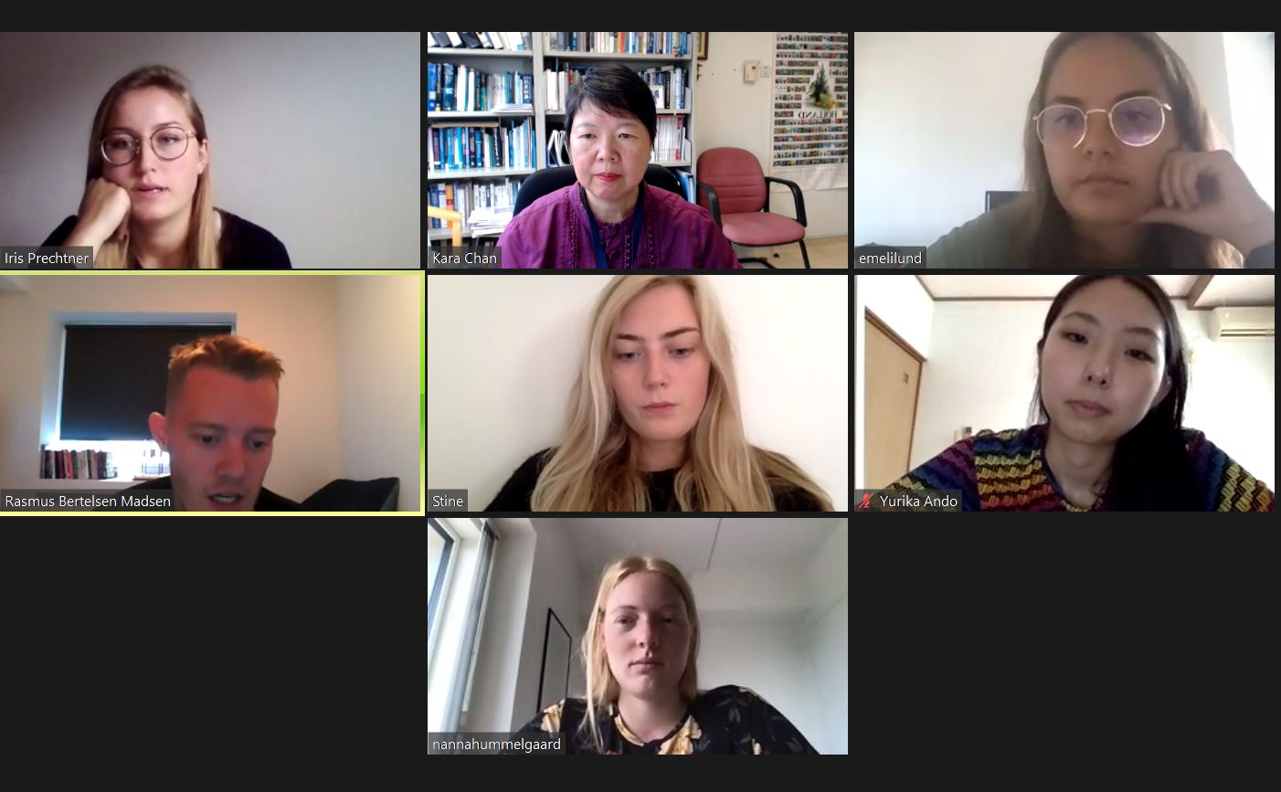 Students took turn to moderate an online focus group session with participants from four countries at Aarhus Summer University