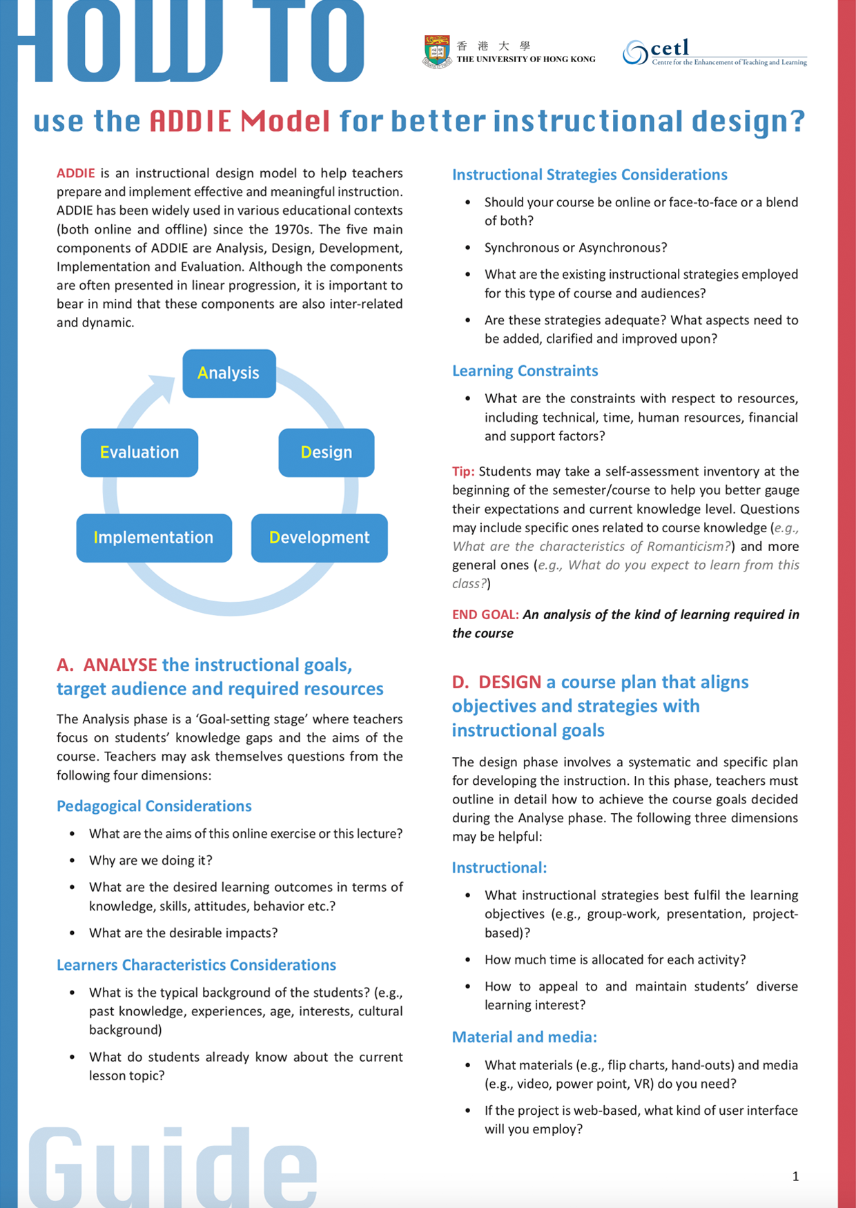 How To Use The Addie Model For Better Instructional Design Technology Enhanced Learning Tel Hku